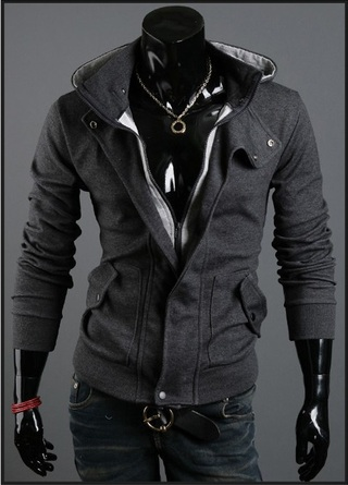 Hooded Jacket Slim Fit and Neck Detail - Dark Gray