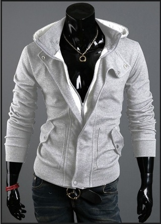Hooded Jacket Slim Fit and Neck Detail - Gray