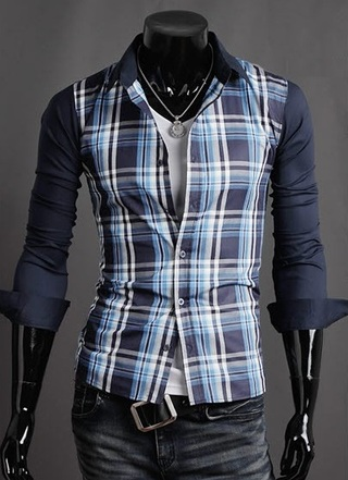 Casual Slim Fit Checked Shirt Modern - in Blue and Red