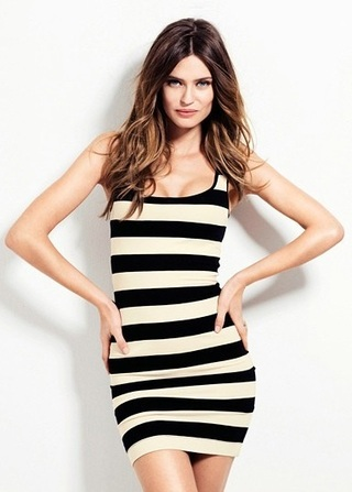 Casual Drees Short in Cotton - in Black and White Stripes