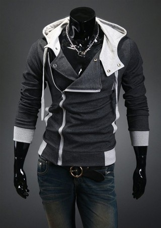Fashion Style Jacket - Closed Diagonal and Multiple Openings - Dark Gray