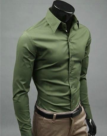 bbcaf9aa01 ... Hombre  Camisa Social Slim Fit Lisa de Alta Calidad - en 12 Colores -  tienda online ...