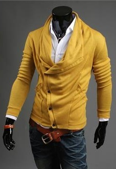 Sweater Casual Fashion con Detalle en la Botonadura - Amarillo (ST164)
