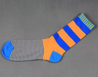 Colorful Modern Fashion Sock - Blue/Orange