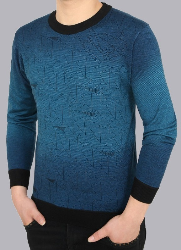 Sweater Fashion con Diseños Geometricos en Degrade - Azul