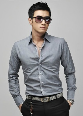 Casual Slim Fit Shirt - Gray, Pink, White and Blue - buy online