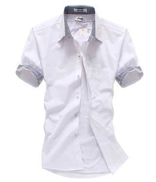 Young Casual Shirt - Details on the collar and the sleeves - White (SD42)
