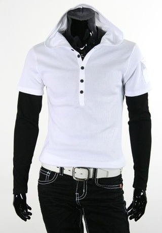 Fashion T-Shirt Superimposed with Hood - in White and Black