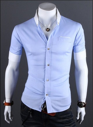 Casual Slim Fit Shirt Short Sleeve - Detail em the Pocket - Blue, Pink e Gray
