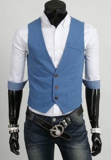 Chaleco Casual Slim Fit - Azul (MH4719)