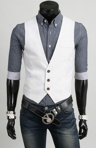 Chaleco Casual Slim Fit - Blanco (MH4719)
