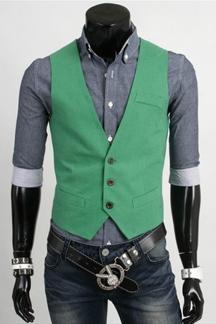 Chaleco Casual Slim Fit Verde Mh4719