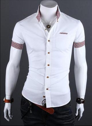 Casual Slim Fit Shirt Short Sleeve - Detail Pocket & Sleeves - White, Black, Wine and Blue