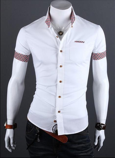Camisa Casual Slim Fit Manga Corta - Detalle en Bolsillo y Mangas - Blanca 4934cfbca17