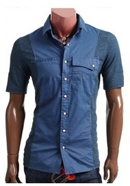 Casual Shirt Youth Short Sleeve -Blue
