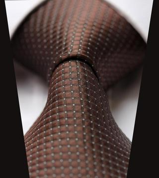 TC2001Z1 Pure Brown Check Jacquard Woven Classic 100%Silk Man's Tie Necktie