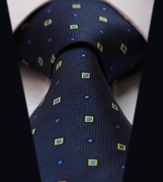 TC2040B Blue Yellow Check Jacquard Woven Classic 100%Silk Man's Tie Necktie