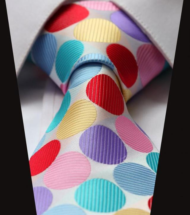 Corbata Fashion de Puntos Multicolor - Blanca