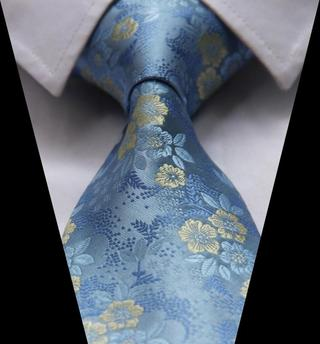 TF2005B Blue Yellow Floral Rose Jacquard Woven Classic Silk Man's Tie Necktie
