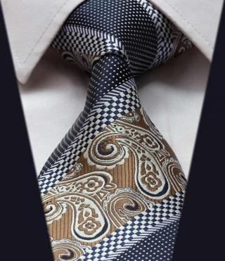 TFS007Z Brown Blue Floral Stripe 3.4'' Silk Classic Woven Man's Tie Necktie