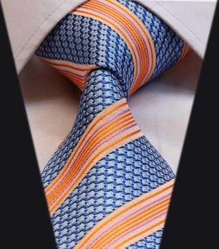 TS1001B Blue Orange Stripe Jacquard Woven Classic Silk Man's Tie Necktie