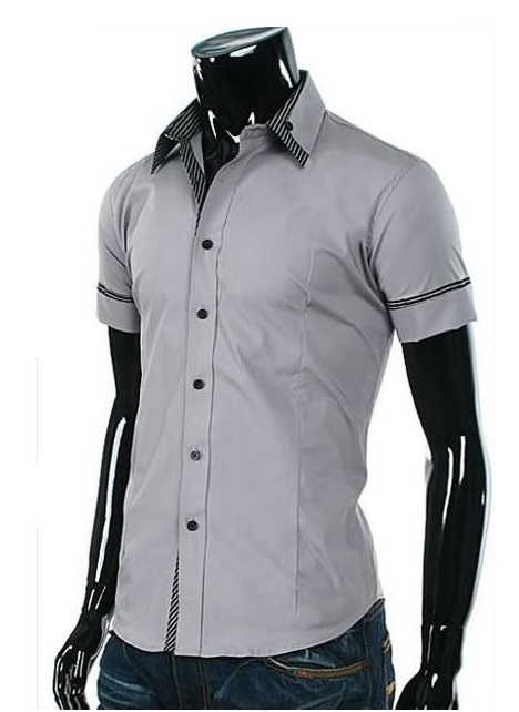Camisa Casual Slim Fit Manga Corta - Detalle a Rayas Frontal, Mangas y Cuello - Gris