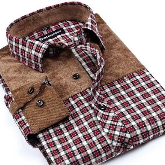 Estilo De 5 Camisa 100Algodón Marrón Vestir Cuadros Cowboy Colores A En lFKJc3T1