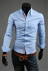 Slim Fit Shirt with Over View Social Front - in Blue, White and Dark Blue