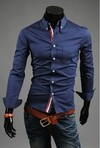 Slim Fit Shirt with Over View Social Front - in Blue, White and Dark Blue on internet