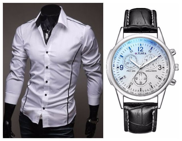 Duo Casual Fashion - Camisa Slim Fit Moderna + Reloj Sofisticado