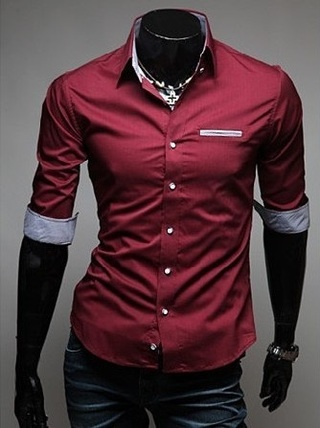 Casual Slim Fit Shirt Short Sleeve in Neck and Pulses Details - Red