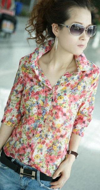 Colorful Floral Blouse - in Chiffon - Pink