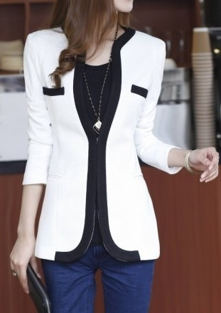 37f29f0ac56b8 Cardigan Estilo Blazer Femenino con Detalles en Contraste - en Blanco y  Negro
