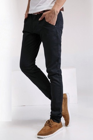 Pantalon Fashion Slim Fit - Color Solido - Negro