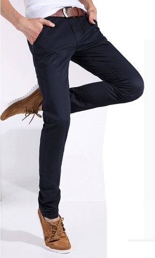 Pantalon Fashion Slim Fit - Color Solido - Azul Oscuro