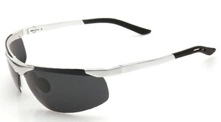 Male Polarized Sunglasses - Aluminum Alloy and Magnesium - Silver Frame