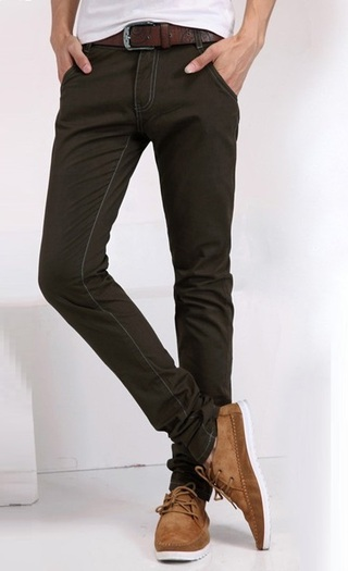 Pantalon Fashion Slim Fit - Color Solido - Café