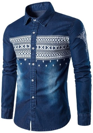 Shirt in Jean Fashion Ethnic Design - in Dark Blue and Light Blue