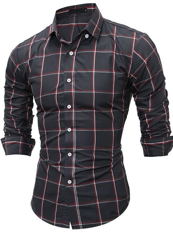 Camisa a cuadros moderna estilo cl sico en negro for Cuadros estilo clasico