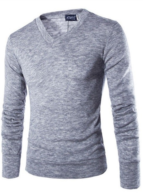Sweater Fashion Suave para Primavera - Cuello en V - Gris