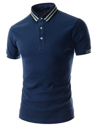Sport Polo Shirt - Neck Stripe - in Blue and White