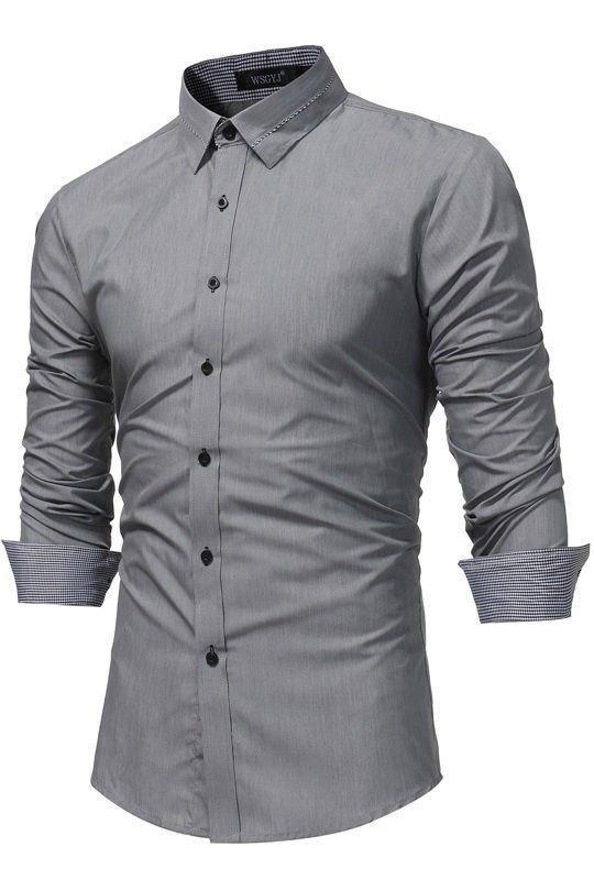 95a709474d Camisa Sofisticada Manga Larga - Cuello con Detalle a Cuadros - en Negro y  Gris ...