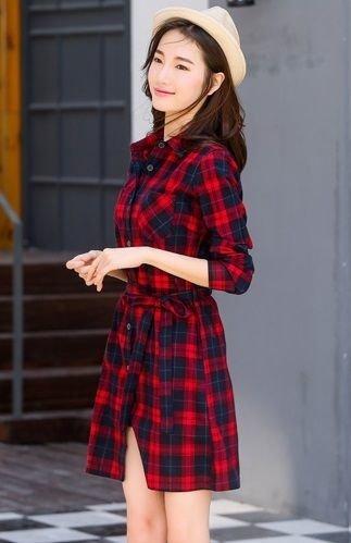 Camisa Larga Femenina Leñadora Tipo Vestido En 8 Colores