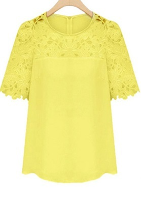Lace Blouse for Spring - Yellow