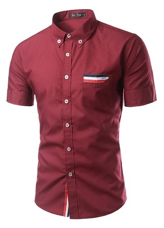 Casual Shirt Short Sleeve Striped with Details - in Wine, White and Black