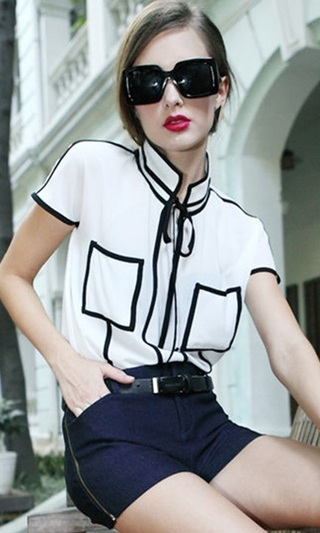 Blouse Casual Young in Contrast - White