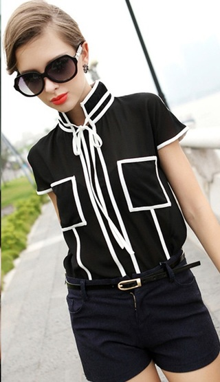 Blouse Casual Young in Contrast - Black