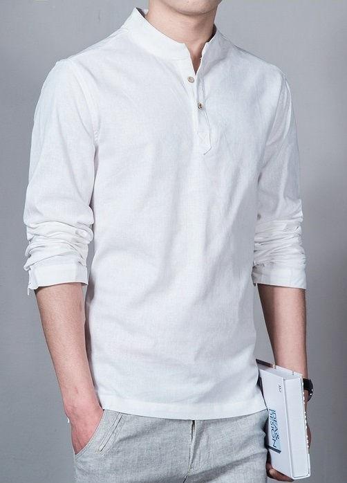 1f4731d340 ... Camisa en Lino Fashion con Cuello Mandarín - en 6 Colores - Camisas de  Hombre  ...