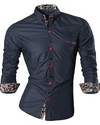 Modern Shirt Night with Floral Detail - Shine - in Black, Wine and Blue on internet