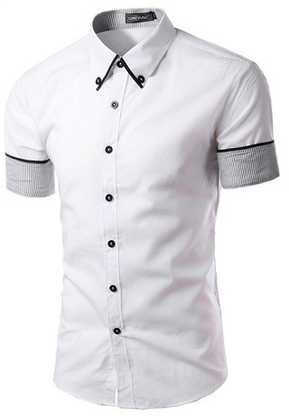Elegant Short Sleeve Youth Shirt with Details on the Sleeves - White - buy online